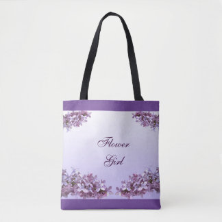 Lilac Flower Girl Wedding Tote Bag