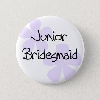 Lilac Flowers Jr. Bridesmaid 6 Cm Round Badge