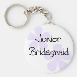 Lilac Flowers Jr. Bridesmaid Basic Round Button Key Ring