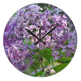 Lilac flowers wallclock
