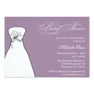 Lilac Formal Wedding Gown Bridal Shower 13 Cm X 18 Cm Invitation Card