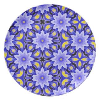 Lilac Fractal Blooms Melamine Plate