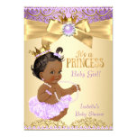 Lilac Gold Ballerina Princess Baby Shower Ethnic 13 Cm X 18 Cm Invitation Card