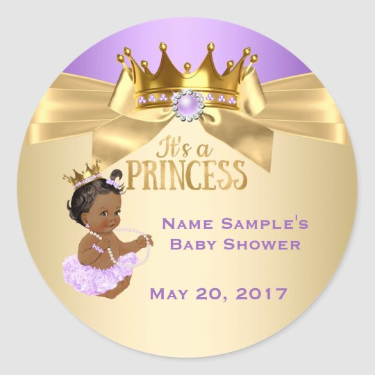Lilac Gold Ballerina Princess Baby Shower Ethnic Classic