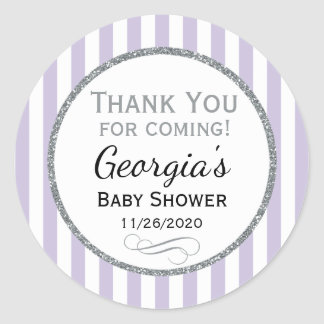 Lilac Gray Baby Shower Thank You Favor Tags Round Sticker