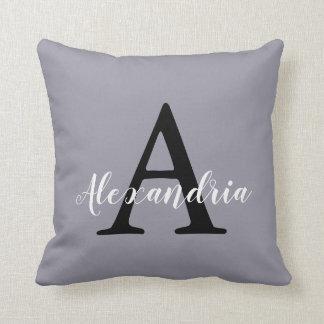 Lilac Gray Neutral Subtle Solid Color Monogram Cushion