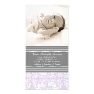 Lilac Gray Thank You Baby Shower Photo Cards