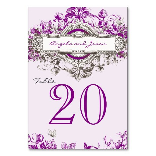 Lilac Gray Vintage Wedding Table Number Card Table Cards