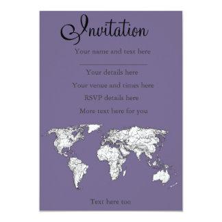 Lilac grey earth drawing 13 cm x 18 cm invitation card