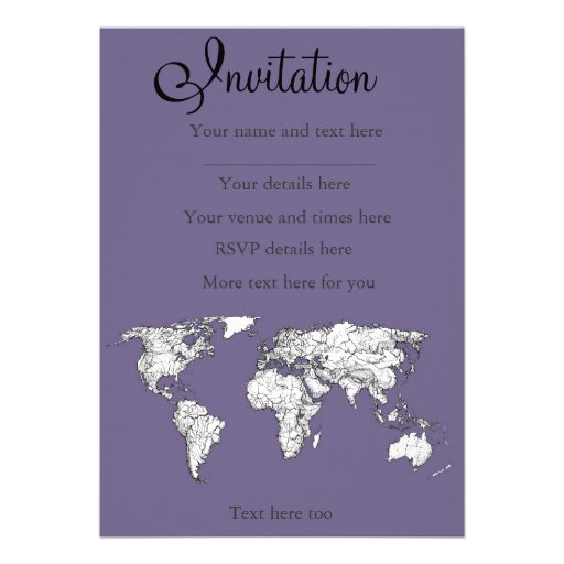Lilac grey earth drawing personalized invites