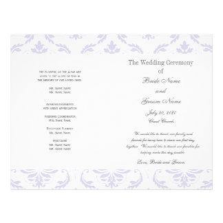 Lilac Grey Vintage Damask Wedding Program Custom Flyer