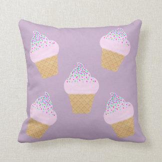 Lilac Ice Cream Cone Throw Pillow