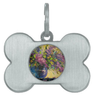 Lilac in a vase pet ID tag