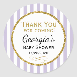 Lilac Lavender Baby Shower Thank You Favor Tag Round Sticker
