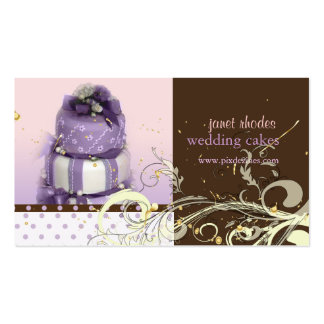 Lilac/lavender/Chocolate cake, bakery Business Card Template