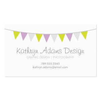 Lilac Lime Green & Gray Modern Bunting Pack Of Standard Business Cards