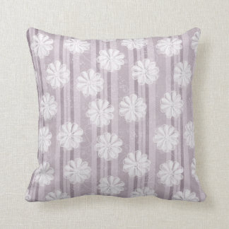 Lilac Linen Stripe Flowers Cushion