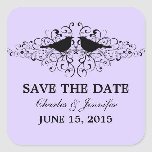 Lilac Love Bird Swirls Save the Date Stickers