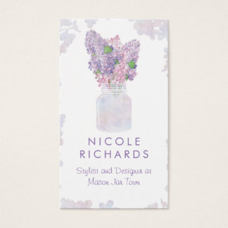 Lilac Mason Jar Bouquet Floral Watercolor Elegant Business Card