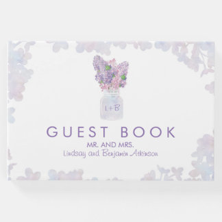 Lilac Mason Jar Bouquet Floral Watercolors Guest Book