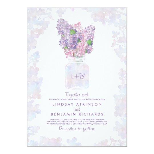 Lilac Mason Jar   Floral Watercolor Rustic Wedding