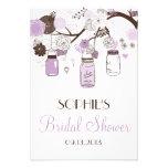 Lilac Mason Jars Bridal Shower Enclosure Card Custom Invitations