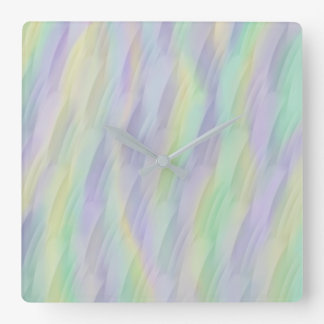 Lilac Mint Yellow Abstract Square Wall Clock
