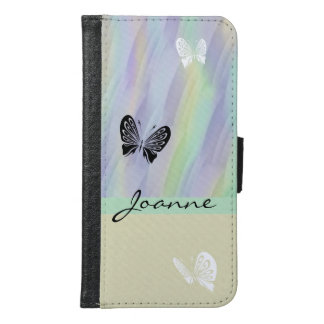 Lilac Mint Yellow Butterfly Samsung Galaxy S6 Wallet Case