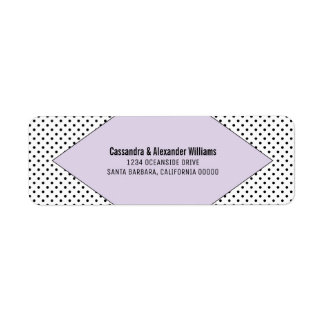 Lilac Modern Polka Dots Wedding Return Address Label