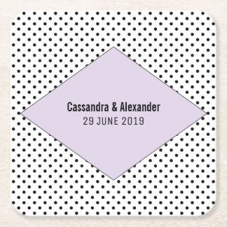 Lilac Modern Polka Dots Wedding Square Paper Coaster