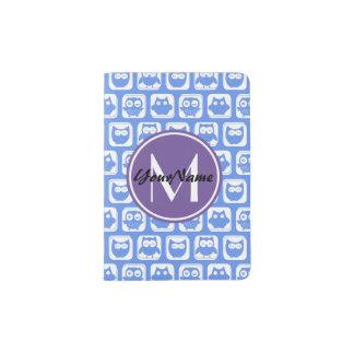 Lilac Monogram Blue and White Owl Pattern N1 Passport Holder