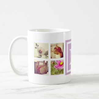 Lilac Monogram Instagram Photo Collage Mug