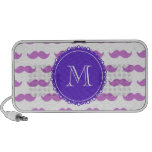 Lilac Moustache Pattern, Purple White Monogram