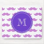 Lilac Moustache Pattern, Purple White Monogram Mousepad