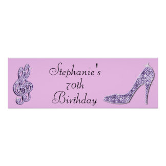 Lilac Music Note and Stiletto 70th Birthday Poster