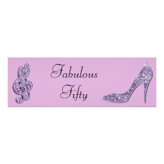 Lilac Music Note and Stiletto Fabulous Fifty Poster