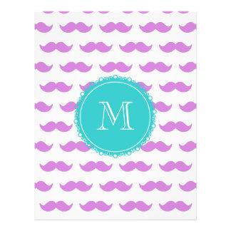 Lilac Mustache Pattern, Aqua White Monogram Flyers