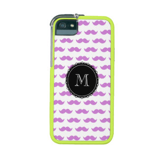 Lilac Mustache Pattern, Black White Monogram iPhone 5 Case
