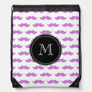 Lilac Mustache Pattern, Black White Monogram Drawstring Bag