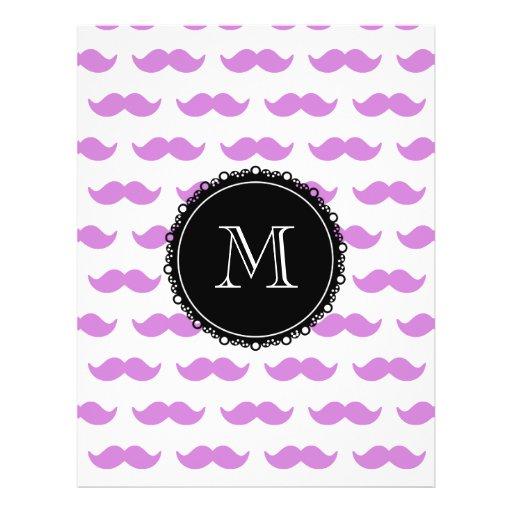 Lilac Mustache Pattern, Black White Monogram Custom Flyer