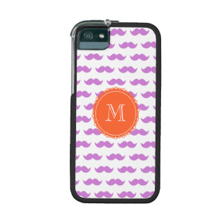 Lilac Mustache Pattern Coral White Monogram iPhone 5 Case