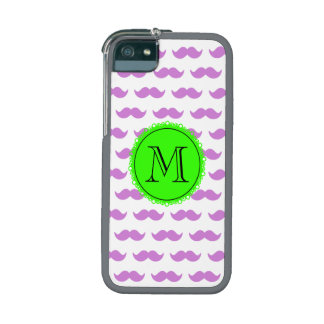Lilac Mustache Pattern, Green Black Monogram iPhone 5/5S Cases