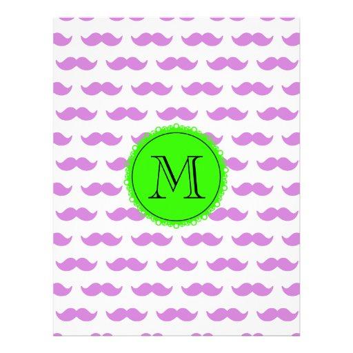 Lilac Mustache Pattern, Green Black Monogram Full Color Flyer