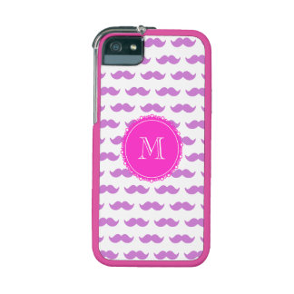 Lilac Mustache Pattern, Hot Pink White Monogram iPhone 5 Cases