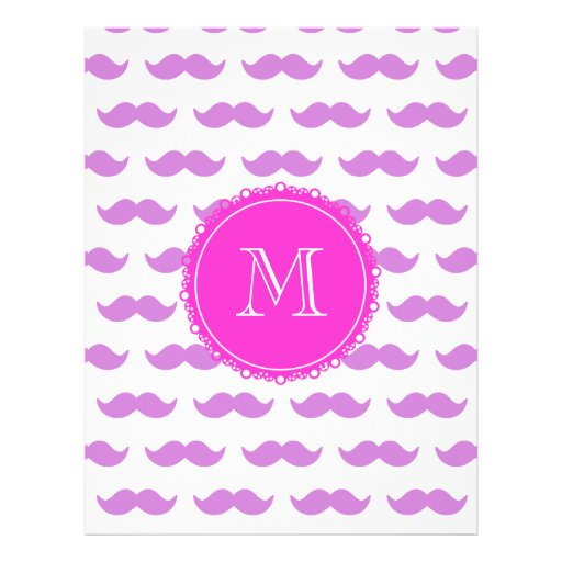 Lilac Mustache Pattern, Hot Pink White Monogram Full Color Flyer