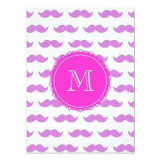 "Lilac Mustache Pattern, Hot Pink White Monogram 6.5"" X 8.75"" Invitation Card"
