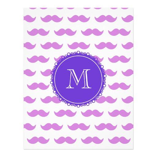Lilac Mustache Pattern, Purple White Monogram Flyers