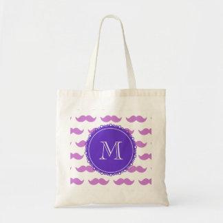 Lilac Mustache Pattern, Purple White Monogram Tote Bag
