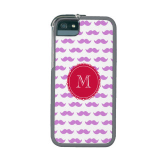 Lilac Mustache Pattern, Red White Monogram iPhone 5 Cover