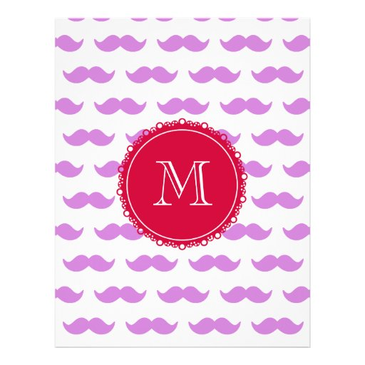 Lilac Mustache Pattern, Red White Monogram Personalized Flyer